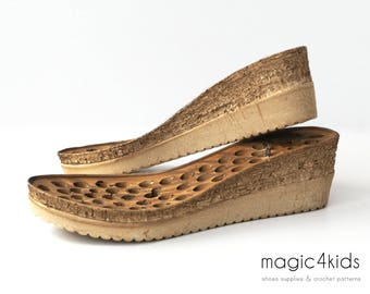 Wedges soles with insoles - high quality, soles for women shoes, women sizes, soles for crochet / felted shoes, wedge,cork color