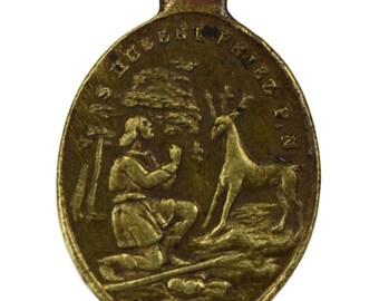 Saint Hubert & Saint Roch Medal, French Antique Brass Religious Pendant, Saint Patron of Hunter Stag, Protection Against Cholera