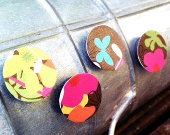 Magnets, Set of 4, Raised, Paper, Decoupage, Flower, Floral, Art, Graphic, Pattern, Pink, Yellow, Green, Orange, Blue, Brown
