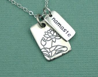 Namaste Necklace - Sterling Silver Necklace, Namaste Jewelry, Yoga Jewelry, Lotus Flower, Yoga Teacher Gift, Yoga Gifts, Buddhist Jewelry