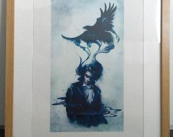 Man and Raven,Raven watercolour,Crow watercolour,Raven print,Raven art,Crow print,Crow art,Bird art,Bird print,Raven painting,Crow painting
