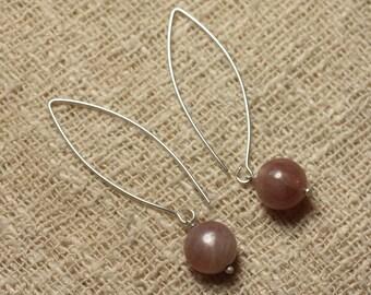 Pair of earrings stone semi precious Sunstone