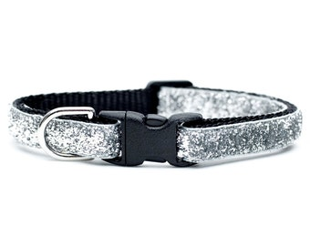 "Cat Collar - ""The Superstar"" - Silver Sparkles"