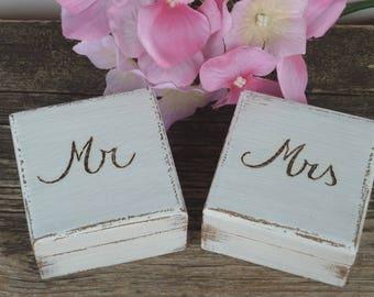 Wedding Ring Box Mr Mrs Set, Ring Bearer Box, Wedding Ring Box, Wood Wedding Ring Pillow His Hers Rustic Ring Boxes with Burlap Set of 2