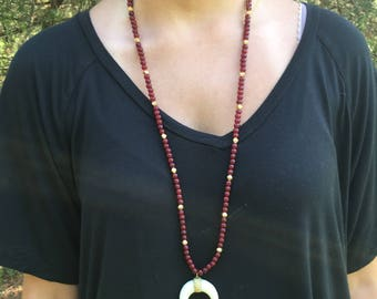 Maroon & Gold Crescent Horn Necklace