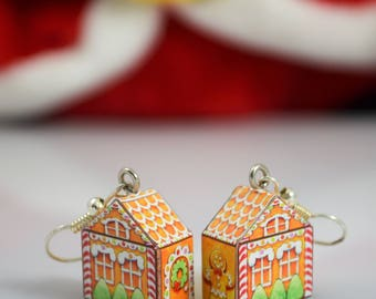 Gingerbread house earrings, Christmas earrings, miniature, Christmas jewellery, dangle earrings