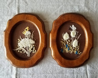 Framed vintage crewel embroidered flowers and butterflies, crewel embroidery, embroidered flowers, wall art, boho decor, 1980s