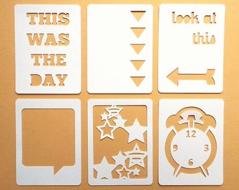 "Look At This 3x4"" Die Cut Cards Everyday Pocket Scrapbooking, Filler Cards, Journaling Cards, Scrapbooking Embellishments, Everday Die Cuts"