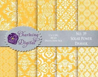 Yellow Damask Digital Paper, Yellow Scrapbooking Digital Paper, No. 39 Solar Power