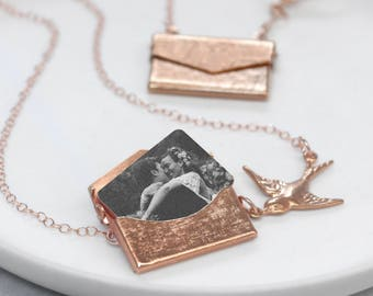 Rose Gold Photo Locket Necklace, Gift For Her, Gold Necklace, Custom Envelope Locket, Personalised Photo Envelope Necklace With Bird