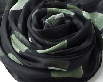 Black Silk Chiffon Scarf with Large Polka Dot Print -  Dot Printed Silk Scarf - Black Silk Scarf - AS2017-N2