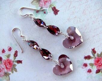 Antique Pink Heart Earrings, Swarovski Earrings, Heart Earrings, Pink Heart Earrings, Valentine Earrings, Pink Earrings, Dangle Earrings