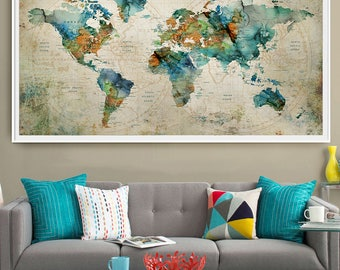 Extra large poster etsy abstract large wall art turquoise world map art prints home decor world map poster gumiabroncs Gallery