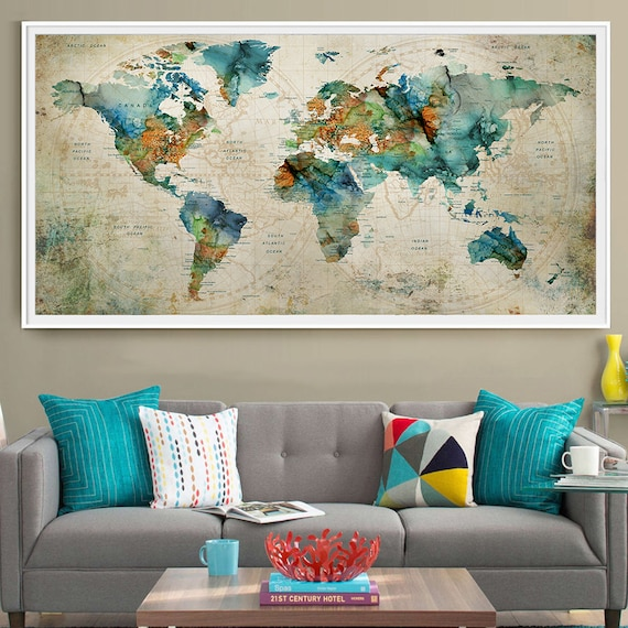 Abstract large wall art turquoise world map art prints home like this item gumiabroncs Choice Image