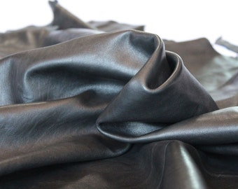Italian Lambskin Leather hide - black 7 Sqft