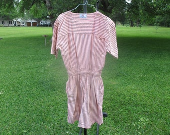 1980's striped cotton romper by DY, peach gray romper, vintage romper, retro romper, women's romper, romper suit, size M, medium romper