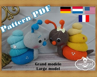 Crochet Pattern, pattern, tutorial, Amigurumi snail (large)