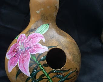 Hand Painted Gourd- Birdhouse with Lily