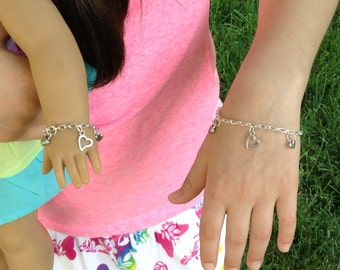 "My doll and me matching heart charm silver plated bracelets for girls and their American Girl doll and/or other 18"" dolls, Valentine's"