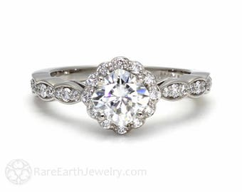Platinum Moissanite Diamond Halo Engagement Ring Cushion Cut Conflict Free Forever One Moissanite Ring