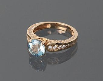 Anniversary ring, Topaz ring, Rose gold ring, Statement ring, Blue topaz ring, Round stone ring, Anniversary gift her, Gift for her ring