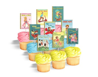 Printable cupcake toppers or cake bunting for book themed party or baby shower / vintage book covers / digital rectangles