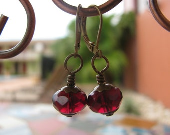 Deep Wine Red Faceted Rondelle Czech Glass Earrings with Brass Filigree Accents