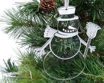 Snowman Christmas Tree decorations - Tall Frosty Snowman with Broom - Christmas decor -  laser cut and engraved tree decorations.