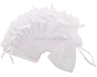 12cm x 9cm - 5 white Organza pouches
