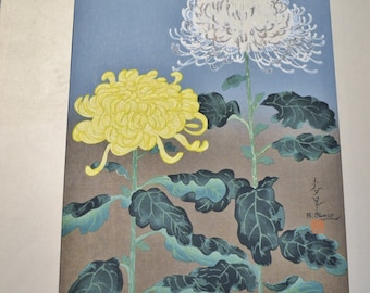 Bakufu Ohno Chrysanthemum Flower Woodblock Unframed Signed Japanese Asian Mid Century Art Panchosporch