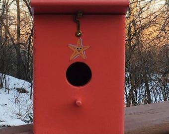 Handmade Coral Star outdoor hanging birdhouse