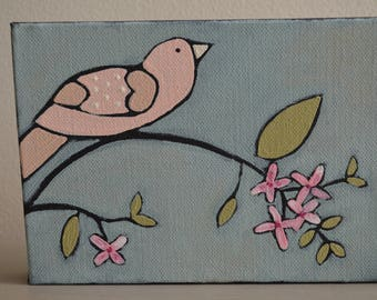 Original Little Bird Up On A Branch Painting On Canvas With Flowers