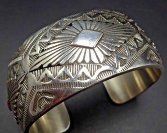 Signed Vintage NAVAJO Hand Stamped Sterling Silver Cuff BRACELET 64g