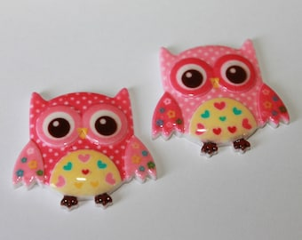 Pink owl embellishment flat backs, acrylic cabochons, lot of 6 pink color owl embellishments, beautiful baby color owls, 30*34 mm owls