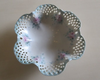 HAND PAINTED BOWL with Pink Roses