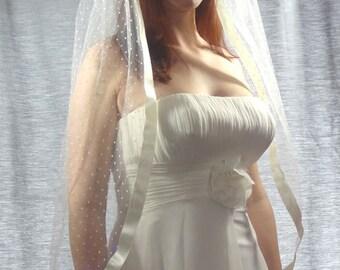 Swiss Dot Veil with Ribbon Edge, Bridal Veil, Wedding Veil, Polka Dot Veil