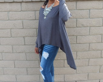 Off The Shoulder Long Sleeve Shapeless Tee, Asymmetrical Slouchy Boat Neck Knit Pull Over, XS - 5X