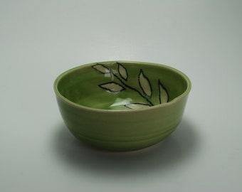 Handmade Ceramic Bowl | Wheel Thrown Pottery Bowl | Hand-Painted Bowl | Celedon Leaf