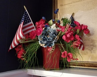 Red, White, and Blue Floral Arrangement