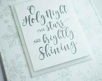 Handmade Christmas Cards, Christmas Cards, Religious Christmas Cards, White, Silver, Snowflakes, Elegant Cards, Greeting Cards
