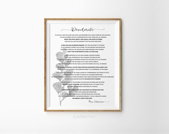 Desiderata wall art - Desiderata art print - Black and white - Max Ehrmann poem - Desiderata print - Desiderata poem - Minimalist art