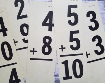 Vintage Math Flash Cards | Large School Arithmetic Flash Cards | Addition