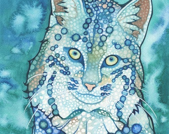 Bobcat 8.5 x 11 print of watercolor cat painting, artwork in baby blue & teal turquoise, wildcat big cat forest creature moutain animal lynx