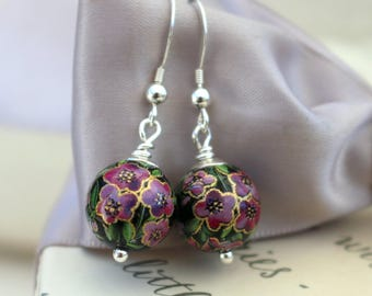 Japanese Tensha Bead Purple-pink flower earrings with Sterling components