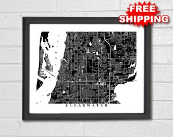 Clearwater Map Art - Map Print - Black and White - Florida - Travel - Office Decor - Interior Design  - Custom Map - Housewarming