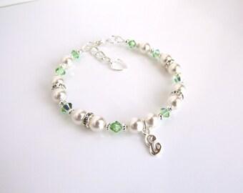 August Birthstone Bracelet, Peridot Bracelet, Personalized Gift for Little Girl, Gift for Girls, Little Girl Bracelet Personalized,