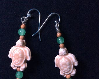 Handmade green jade wood turtle earrings