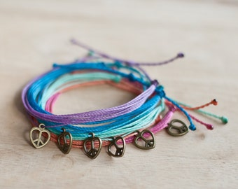 Peace Heart Multistrand Bracelet - Multi Strand - Waxed polyester - Custom - Choose your own color