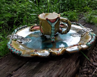 One of a Kind Handmade Crystalline Blue Green Brown Gold Red Green Natural History Insipred Ceramicgoddess Art Pottery Platter and Cup Set
