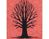 Bare Tree Silhouette Wall Art Paper Cut Art Design Orange Black 8x10 Unframed